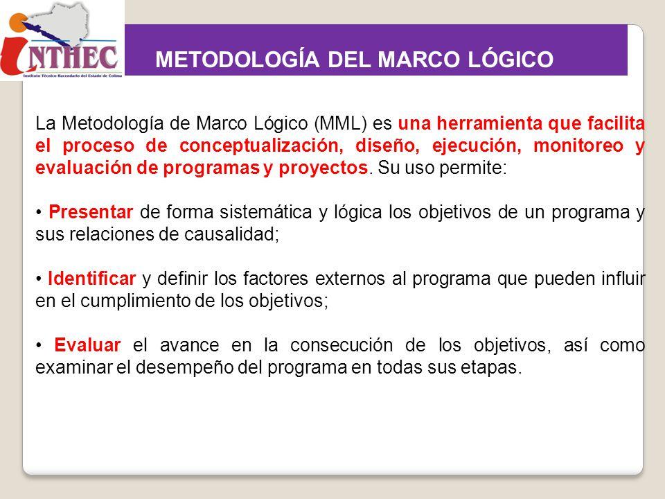 La Metodología de Marco Lógico (MML) es una herramienta que facilita el proceso de conceptualización, diseño, ejecución, monitoreo y evaluación de pro