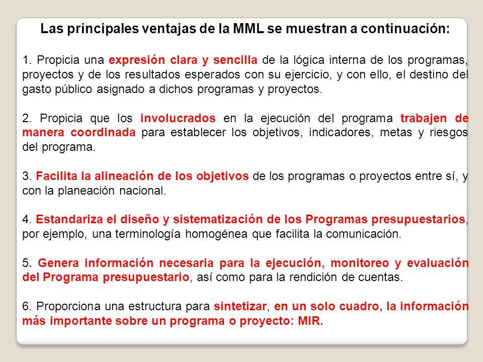 Las principales ventajas de la MML se muestran a continuación: 1. Propicia una expresión clara y sencilla de la lógica interna de los programas, proye