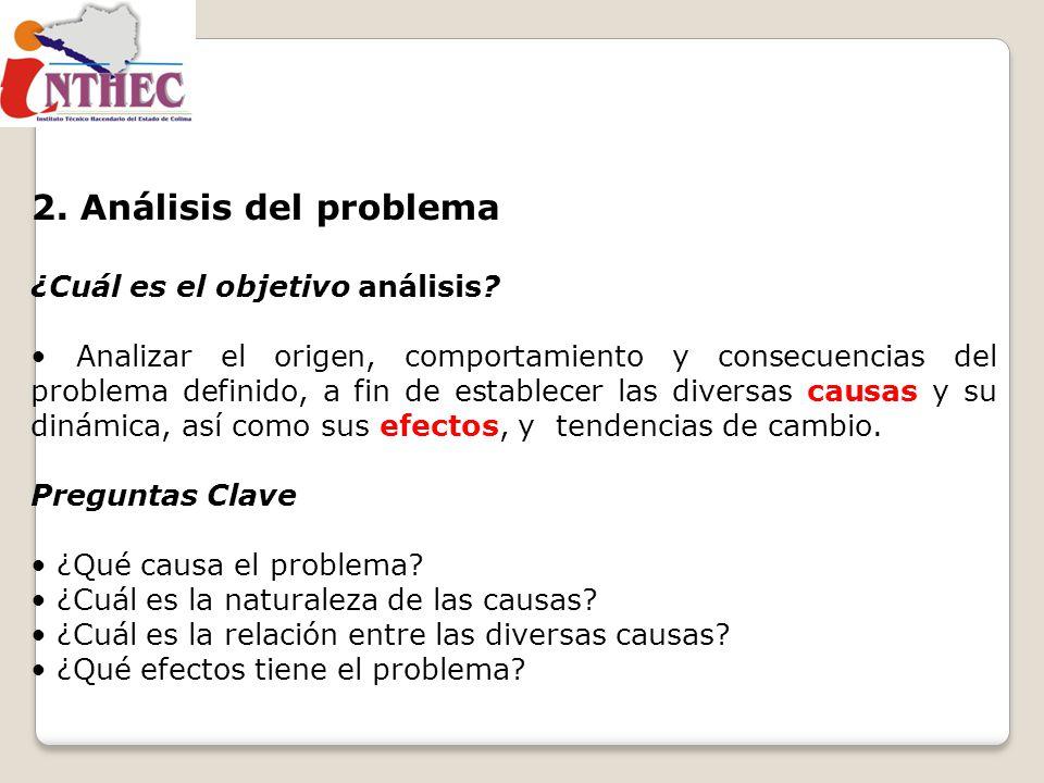 2. Análisis del problema ¿Cuál es el objetivo análisis? Analizar el origen, comportamiento y consecuencias del problema definido, a fin de establecer