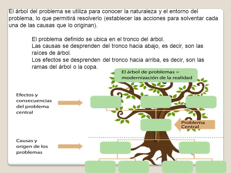 El árbol del problema se utiliza para conocer la naturaleza y el entorno del problema, lo que permitirá resolverlo (establecer las acciones para solve