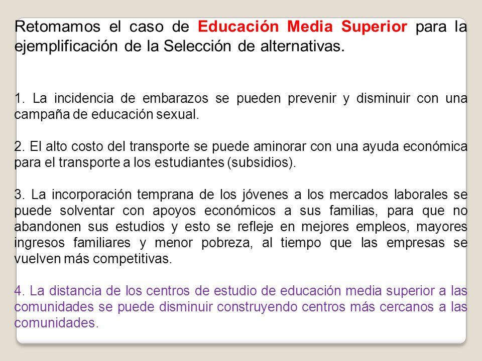Retomamos el caso de Educación Media Superior para la ejemplificación de la Selección de alternativas. 1. La incidencia de embarazos se pueden preveni
