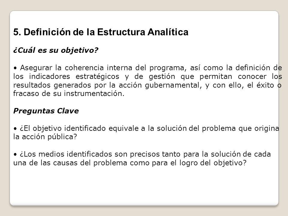 5. Definición de la Estructura Analítica ¿Cuál es su objetivo? Asegurar la coherencia interna del programa, así como la definición de los indicadores
