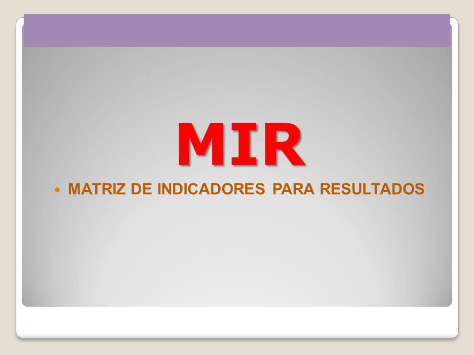 MIR MATRIZ DE INDICADORES PARA RESULTADOS
