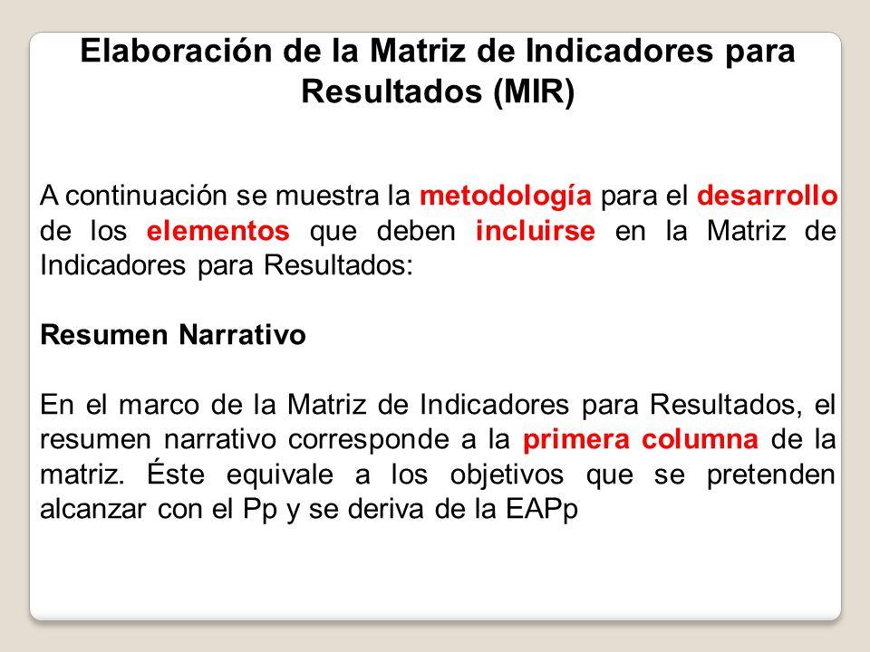 Elaboración de la Matriz de Indicadores para Resultados (MIR) A continuación se muestra la metodología para el desarrollo de los elementos que deben i