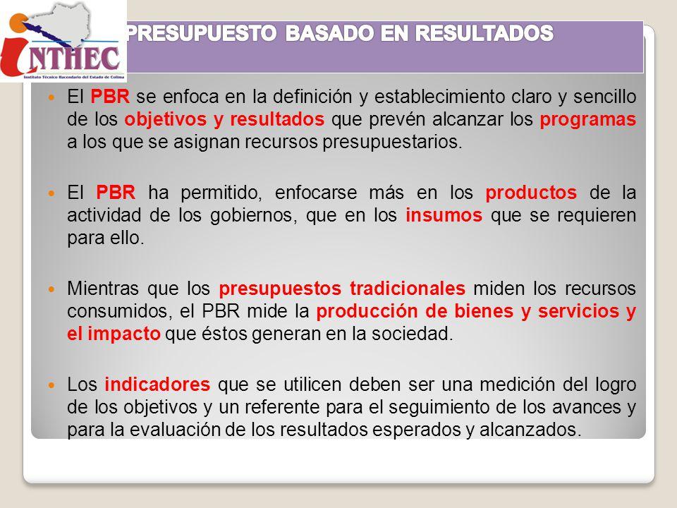 El PBR se enfoca en la definición y establecimiento claro y sencillo de los objetivos y resultados que prevén alcanzar los programas a los que se asig
