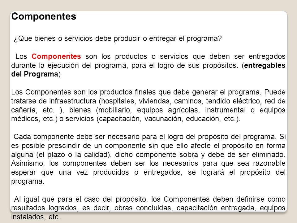 Componentes ¿Que bienes o servicios debe producir o entregar el programa? Los Componentes son los productos o servicios que deben ser entregados duran