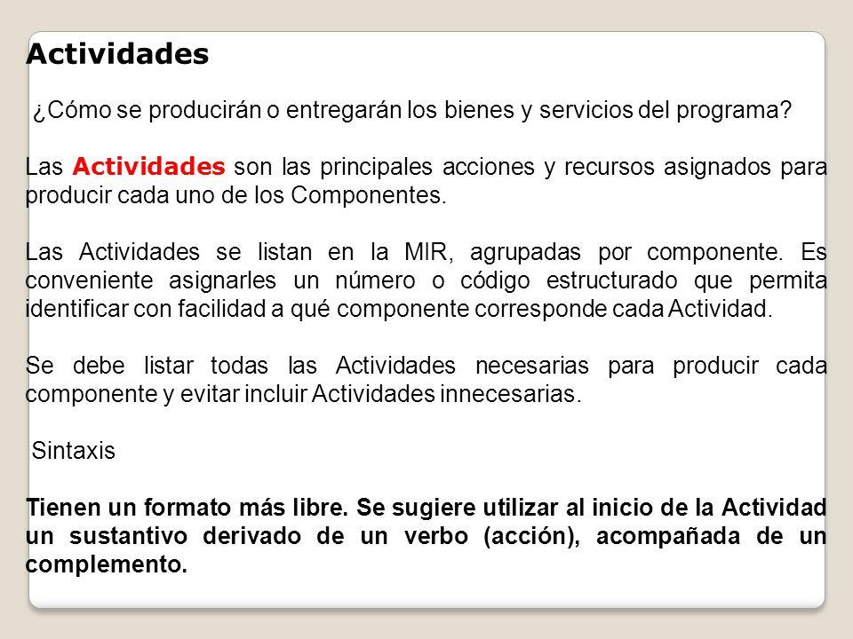 Actividades ¿Cómo se producirán o entregarán los bienes y servicios del programa? Las Actividades son las principales acciones y recursos asignados pa