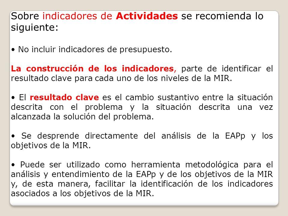 Sobre indicadores de Actividades se recomienda lo siguiente: No incluir indicadores de presupuesto. La construcción de los indicadores, parte de ident