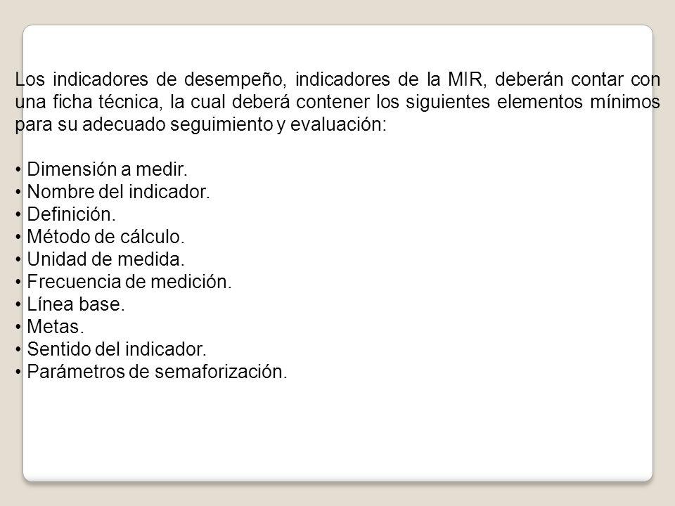 Los indicadores de desempeño, indicadores de la MIR, deberán contar con una ficha técnica, la cual deberá contener los siguientes elementos mínimos pa