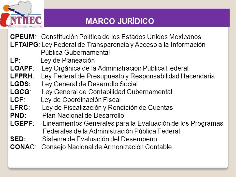 Marco Jurídico para la operación del PbR y el SED CPEUM: Constitución Política de los Estados Unidos Mexicanos LFTAIPG: Ley Federal de Transparencia y