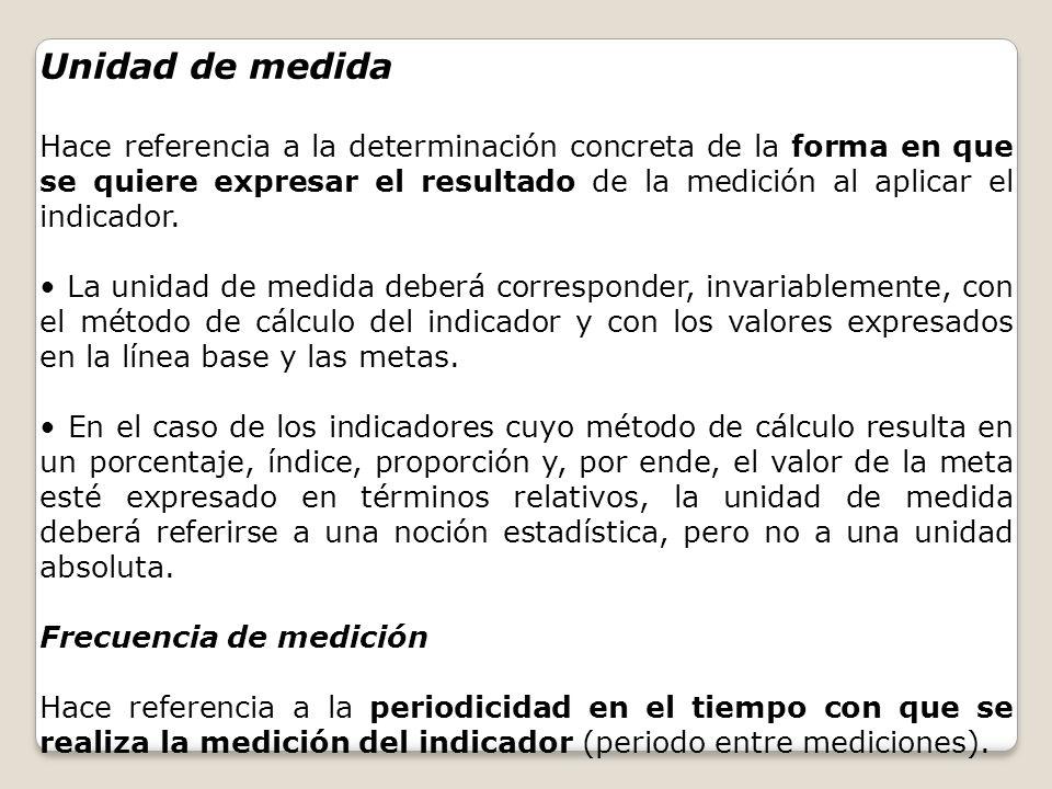 Unidad de medida Hace referencia a la determinación concreta de la forma en que se quiere expresar el resultado de la medición al aplicar el indicador
