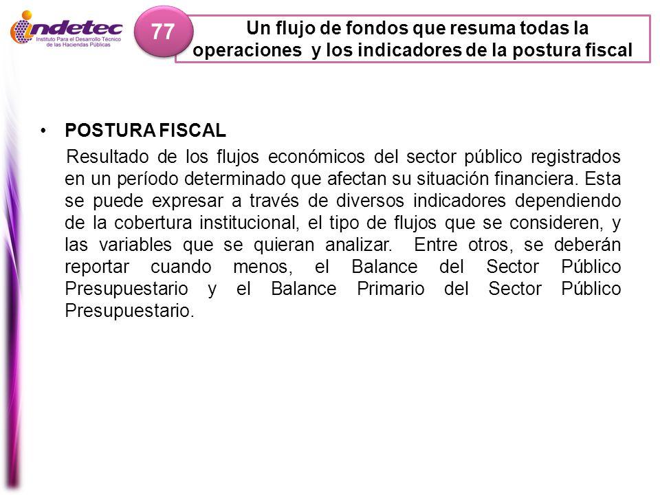 Un flujo de fondos que resuma todas la operaciones y los indicadores de la postura fiscal 77 POSTURA FISCAL Resultado de los flujos económicos del sec