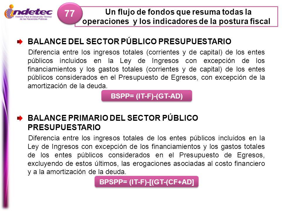 Un flujo de fondos que resuma todas la operaciones y los indicadores de la postura fiscal 77 BALANCE DEL SECTOR PÚBLICO PRESUPUESTARIO Diferencia entr