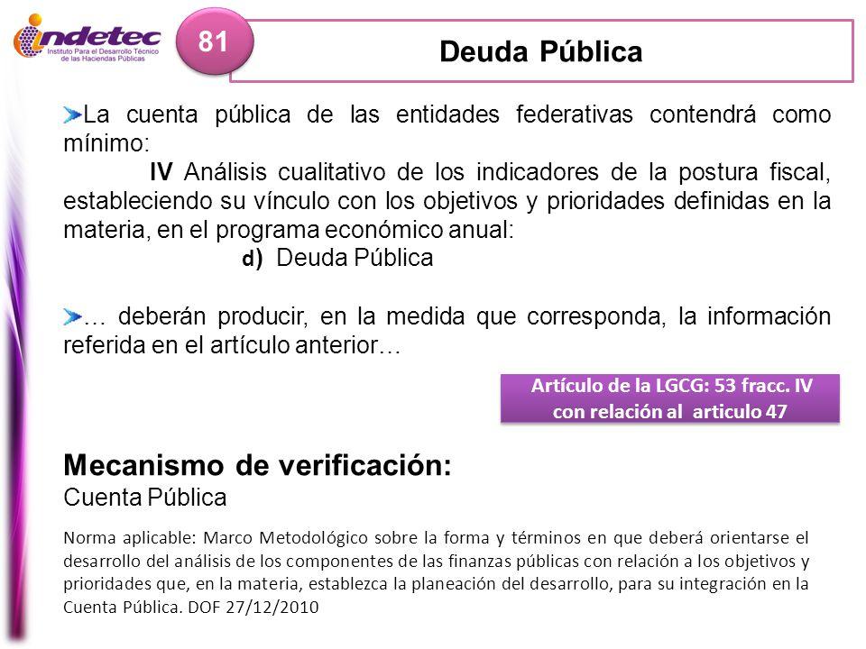 Deuda Pública 81 Artículo de la LGCG: 53 fracc. IV con relación al articulo 47 Mecanismo de verificación: Cuenta Pública Norma aplicable: Marco Metodo