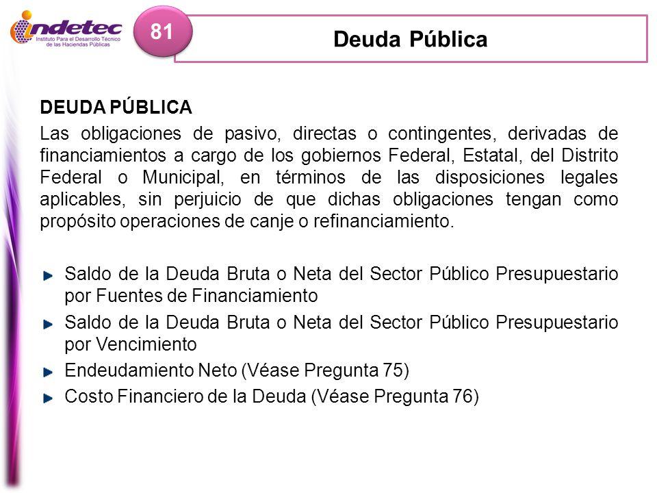 Deuda Pública 81 DEUDA PÚBLICA Las obligaciones de pasivo, directas o contingentes, derivadas de financiamientos a cargo de los gobiernos Federal, Est