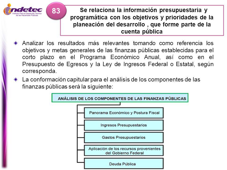 Se relaciona la información presupuestaria y programática con los objetivos y prioridades de la planeación del desarrollo, que forme parte de la cuent
