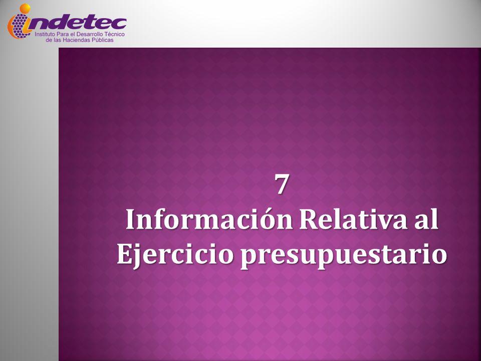7 Información Relativa al Ejercicio presupuestario