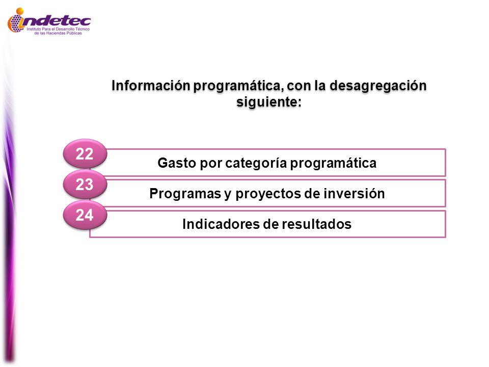 Gasto por categoría programática 22 Programas y proyectos de inversión 23 Indicadores de resultados 24 Información programática, con la desagregación