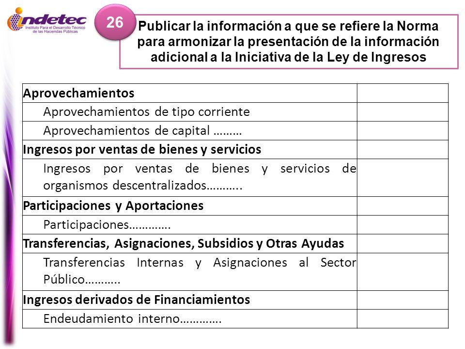 Publicar la información a que se refiere la Norma para armonizar la presentación de la información adicional a la Iniciativa de la Ley de Ingresos 26