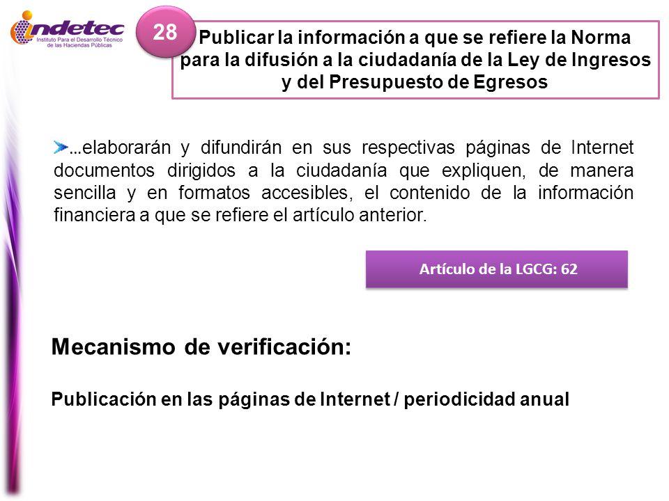 Publicar la información a que se refiere la Norma para la difusión a la ciudadanía de la Ley de Ingresos y del Presupuesto de Egresos 28 Artículo de l