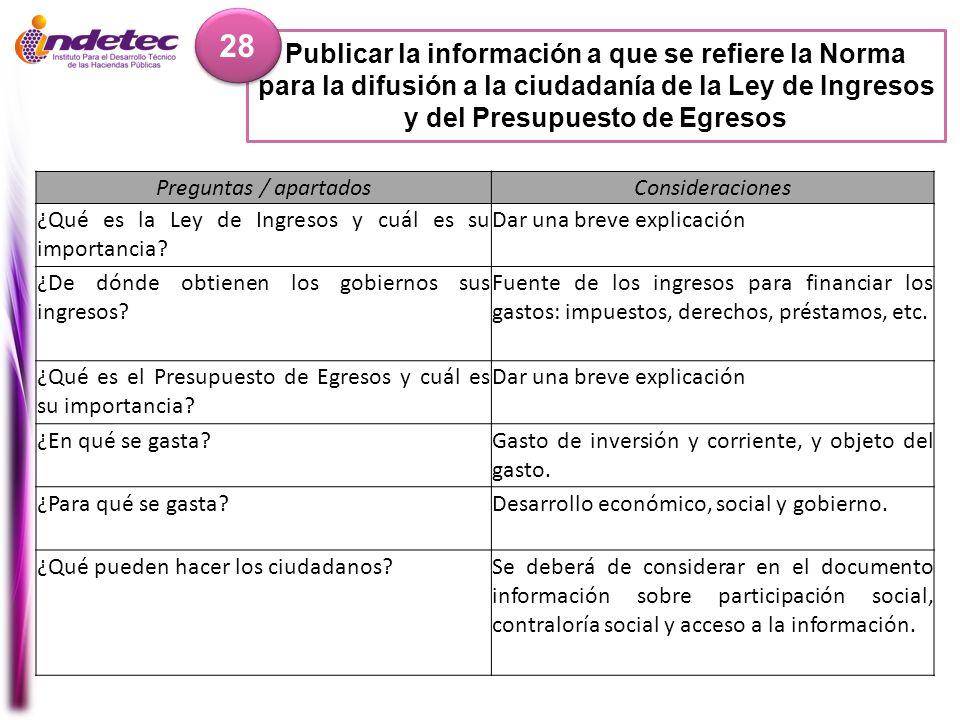 Publicar la información a que se refiere la Norma para la difusión a la ciudadanía de la Ley de Ingresos y del Presupuesto de Egresos 28 Preguntas / a