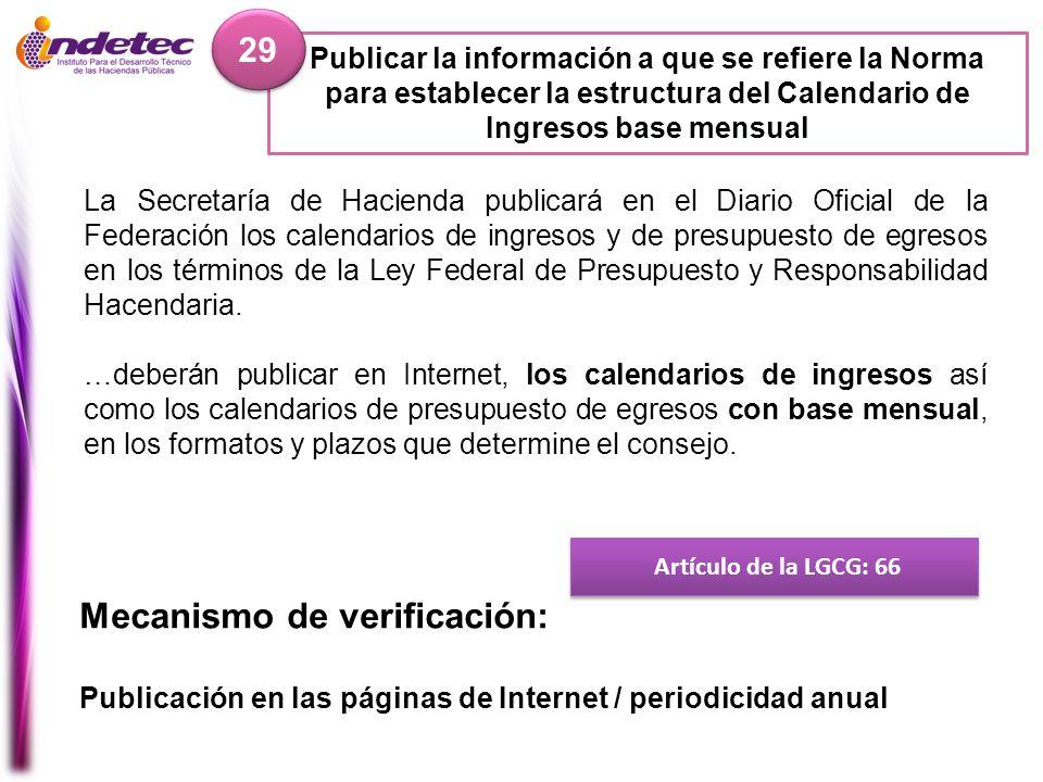 Publicar la información a que se refiere la Norma para establecer la estructura del Calendario de Ingresos base mensual 29 Artículo de la LGCG: 66 Mec