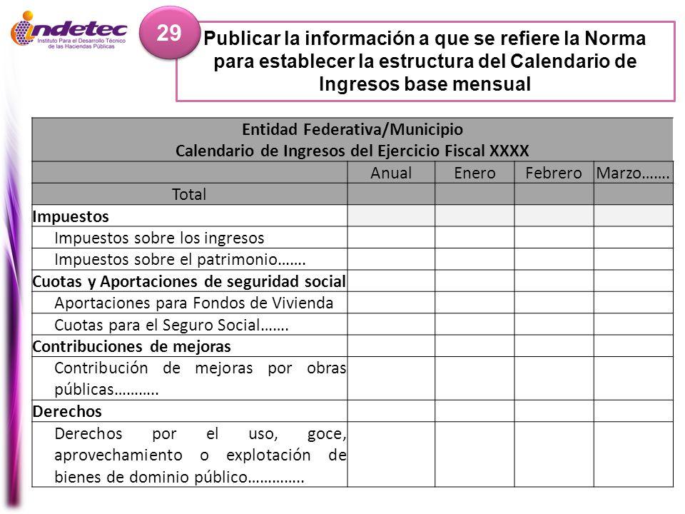 Publicar la información a que se refiere la Norma para establecer la estructura del Calendario de Ingresos base mensual 29 Entidad Federativa/Municipi
