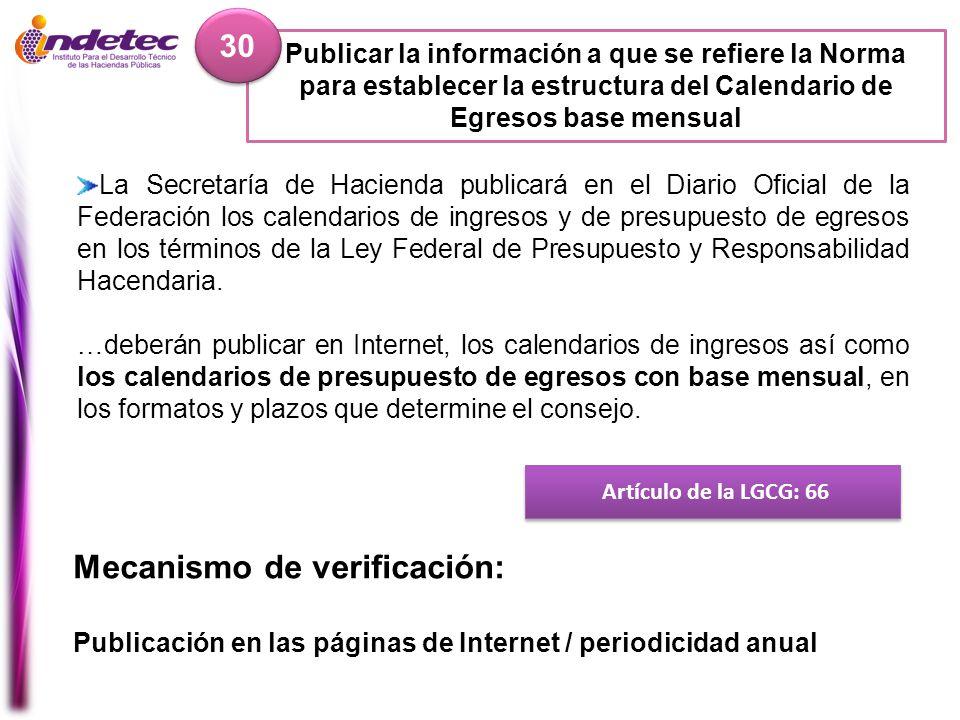 Publicar la información a que se refiere la Norma para establecer la estructura del Calendario de Egresos base mensual 30 Artículo de la LGCG: 66 Meca