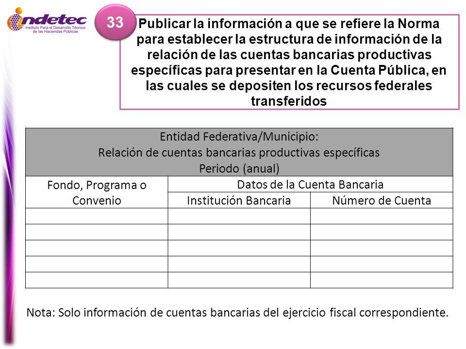 Publicar la información a que se refiere la Norma para establecer la estructura de información de la relación de las cuentas bancarias productivas esp