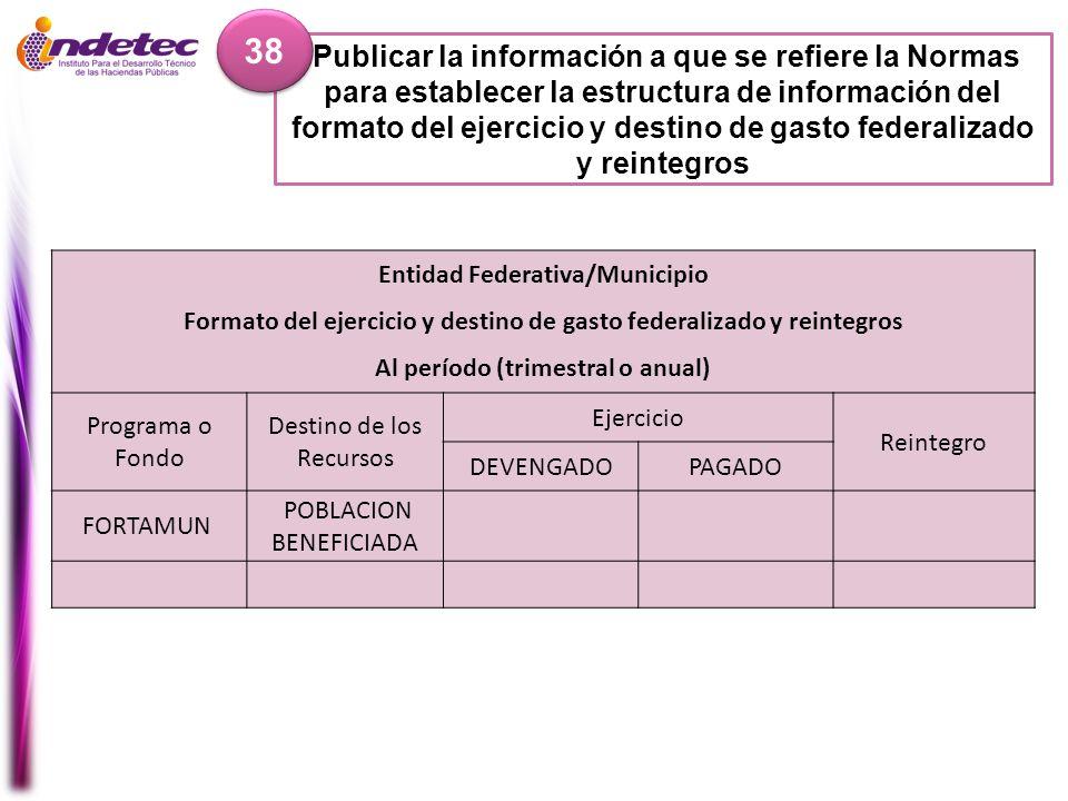 Publicar la información a que se refiere la Normas para establecer la estructura de información del formato del ejercicio y destino de gasto federaliz