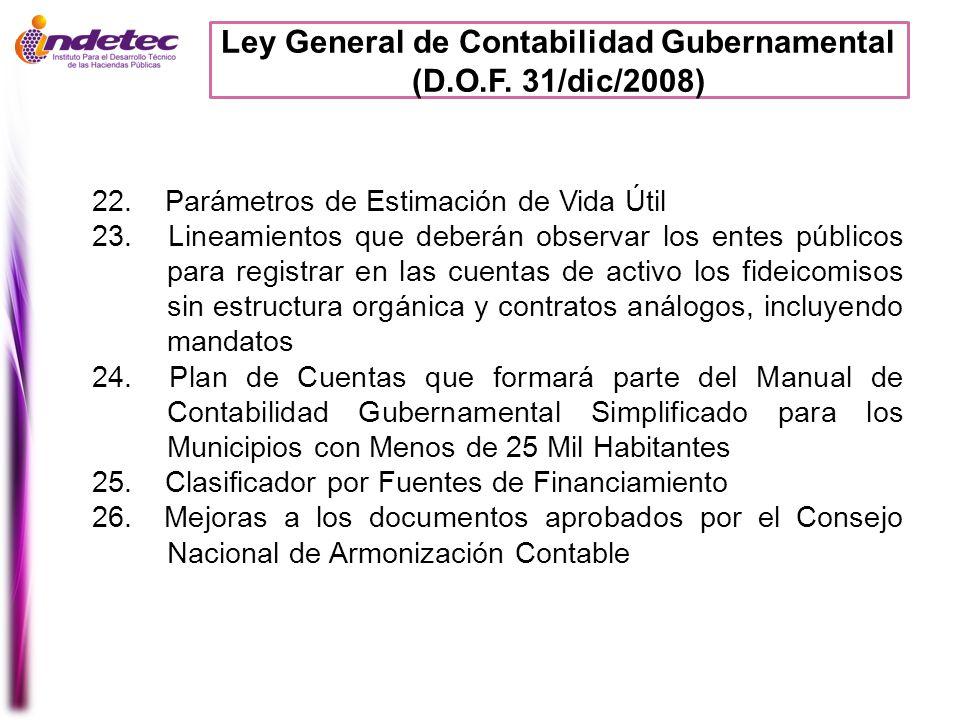 Ley General de Contabilidad Gubernamental (D.O.F. 31/dic/2008) 22. Parámetros de Estimación de Vida Útil 23. Lineamientos que deberán observar los ent