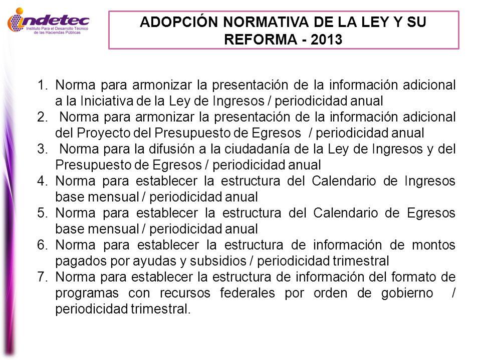 ADOPCIÓN NORMATIVA DE LA LEY Y SU REFORMA - 2013 1.Norma para armonizar la presentación de la información adicional a la Iniciativa de la Ley de Ingre