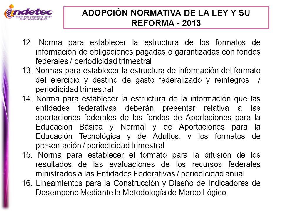 ADOPCIÓN NORMATIVA DE LA LEY Y SU REFORMA - 2013 12. Norma para establecer la estructura de los formatos de información de obligaciones pagadas o gara