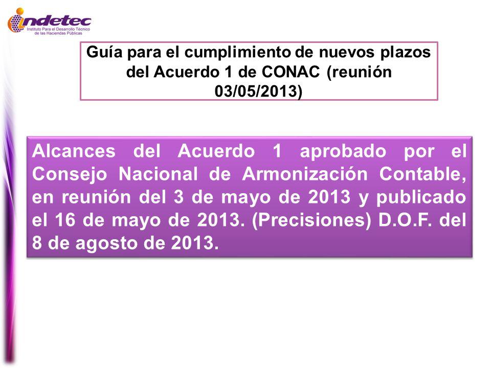 Guía para el cumplimiento de nuevos plazos del Acuerdo 1 de CONAC (reunión 03/05/2013) Alcances del Acuerdo 1 aprobado por el Consejo Nacional de Armo