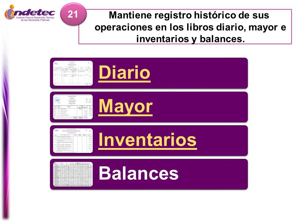 Diario Mayor Inventarios Balances Mantiene registro histórico de sus operaciones en los libros diario, mayor e inventarios y balances. 21