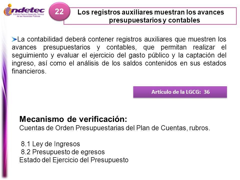 Los registros auxiliares muestran los avances presupuestarios y contables 22 Artículo de la LGCG: 36 Mecanismo de verificación: Cuentas de Orden Presu