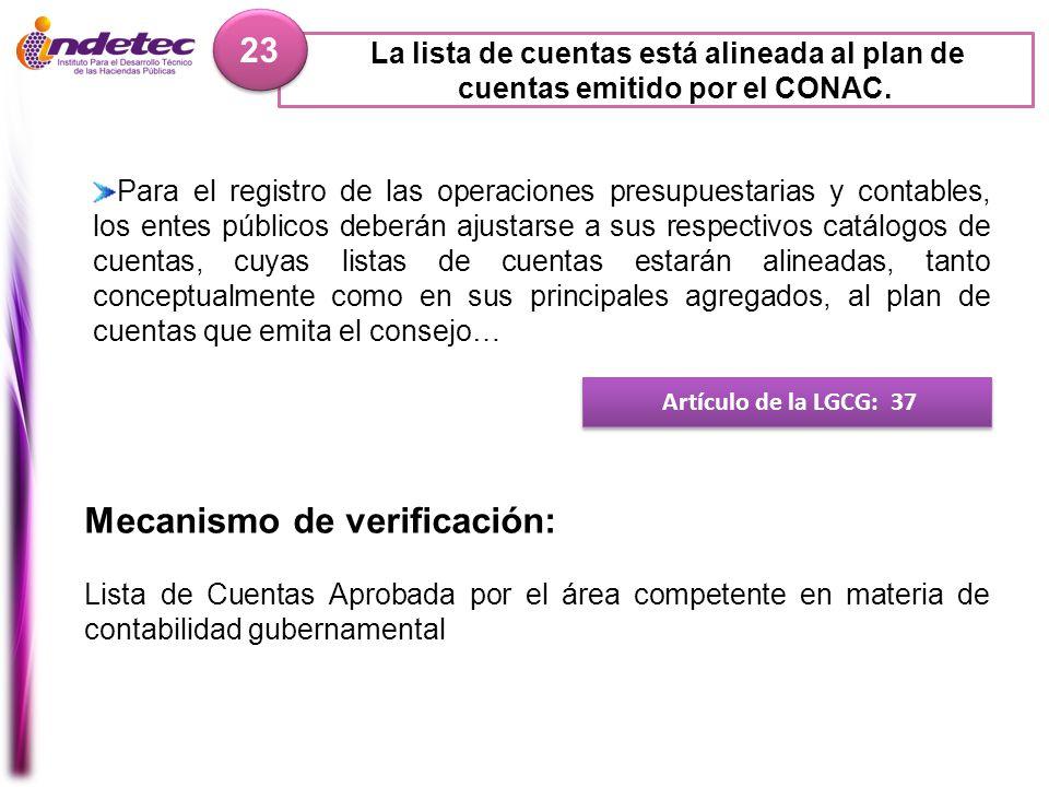 La lista de cuentas está alineada al plan de cuentas emitido por el CONAC. 23 Artículo de la LGCG: 37 Mecanismo de verificación: Lista de Cuentas Apro