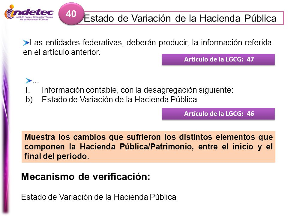 Estado de Variación de la Hacienda Pública 40 Mecanismo de verificación: Estado de Variación de la Hacienda Pública Artículo de la LGCG: 47 Las entida