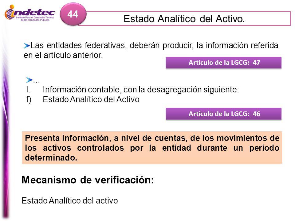Estado Analítico del Activo. 44 Mecanismo de verificación: Estado Analítico del activo Artículo de la LGCG: 47 Las entidades federativas, deberán prod