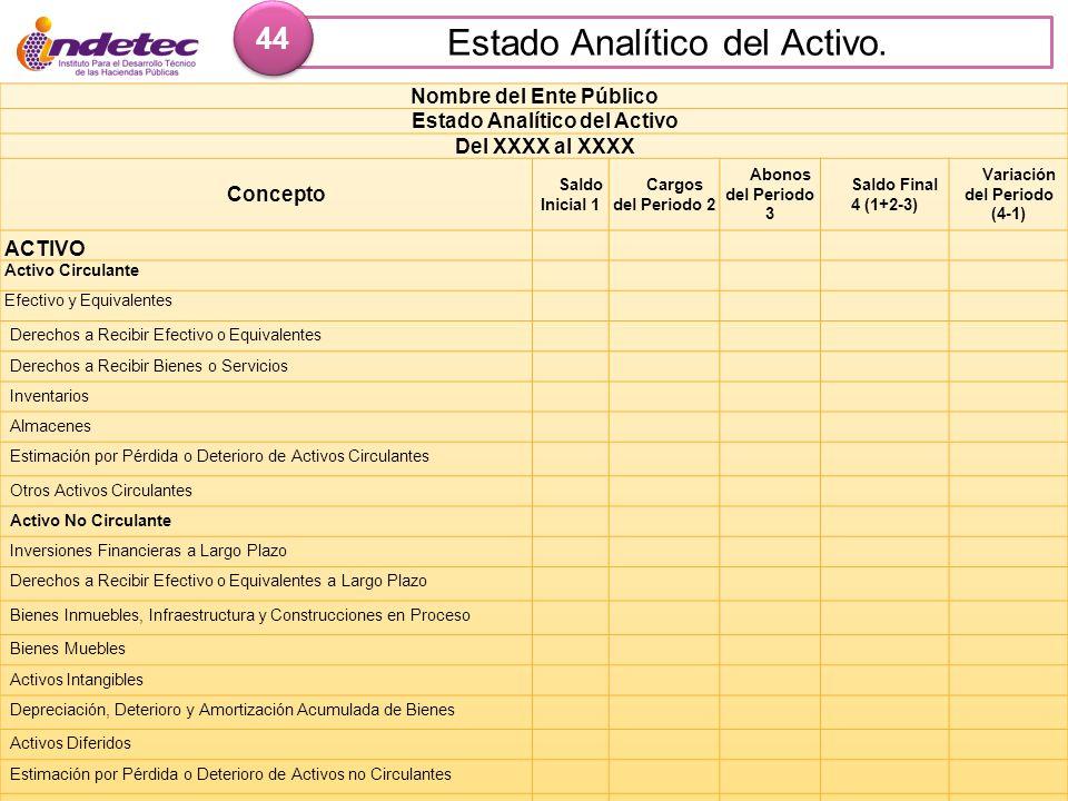 Estado Analítico del Activo. 44