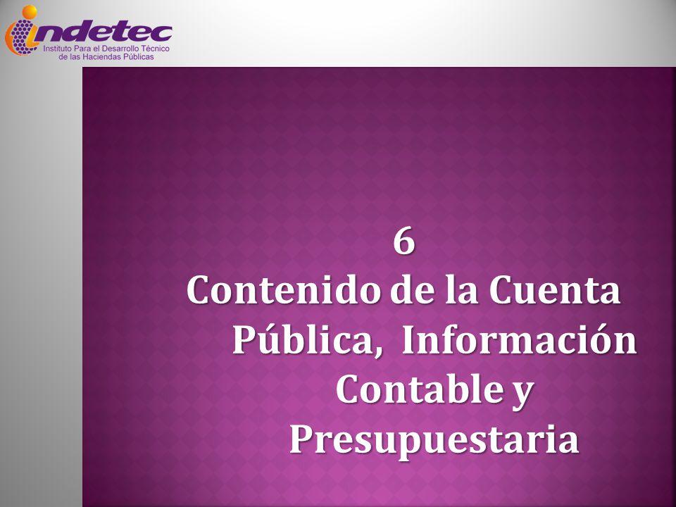 6 Contenido de la Cuenta Pública, Información Contable y Presupuestaria