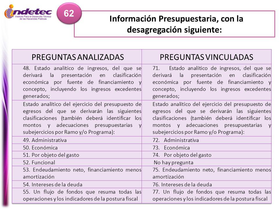 Información Presupuestaria, con la desagregación siguiente: 62