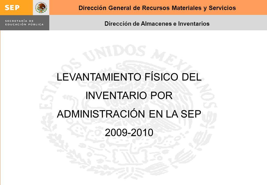 Dirección General de Recursos Materiales y Servicios Dirección de Almacenes e Inventarios LEVANTAMIENTO FÍSICO DEL INVENTARIO POR ADMINISTRACIÓN EN LA