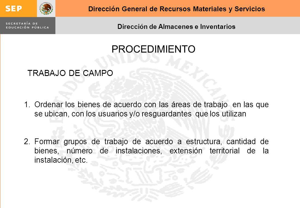 Dirección General de Recursos Materiales y Servicios Dirección de Almacenes e Inventarios PROCEDIMIENTO 1.Ordenar los bienes de acuerdo con las áreas