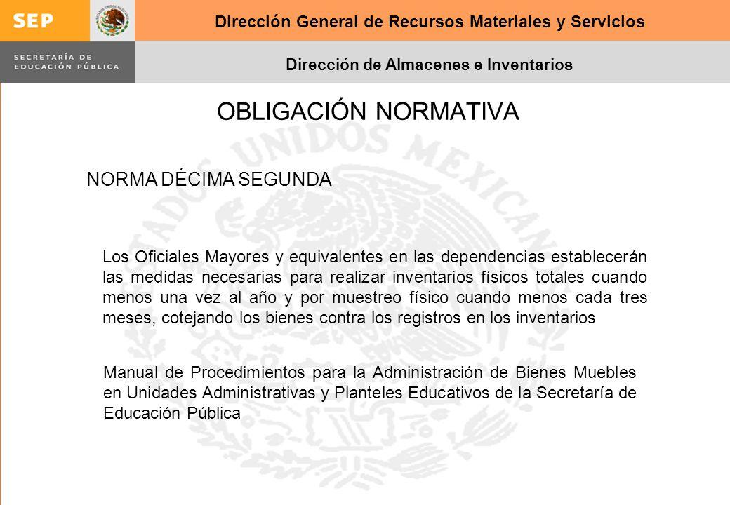 Dirección General de Recursos Materiales y Servicios Dirección de Almacenes e Inventarios OBLIGACIÓN NORMATIVA NORMA DÉCIMA SEGUNDA Los Oficiales Mayo