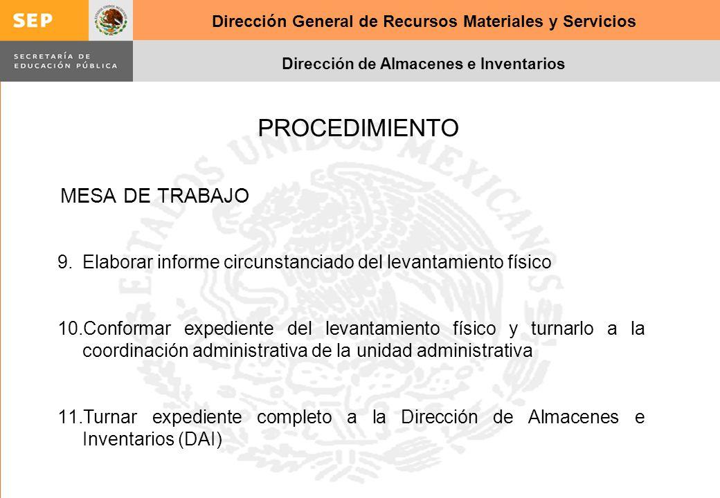 Dirección General de Recursos Materiales y Servicios Dirección de Almacenes e Inventarios 9.Elaborar informe circunstanciado del levantamiento físico