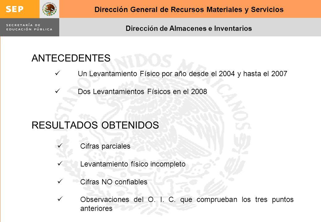 Dirección General de Recursos Materiales y Servicios Dirección de Almacenes e Inventarios RESULTADOS OBTENIDOS Cifras parciales Levantamiento físico i