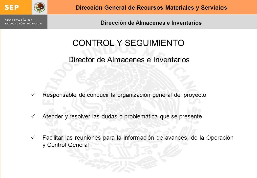 Dirección General de Recursos Materiales y Servicios Dirección de Almacenes e Inventarios CONTROL Y SEGUIMIENTO Responsable de conducir la organizació