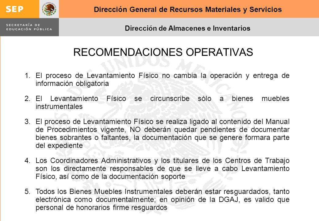 Dirección General de Recursos Materiales y Servicios Dirección de Almacenes e Inventarios RECOMENDACIONES OPERATIVAS 1.El proceso de Levantamiento Fís