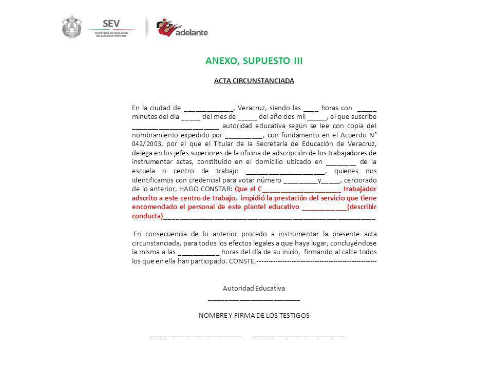 ANEXO, SUPUESTO III ACTA CIRCUNSTANCIADA En la ciudad de _____________, Veracruz, siendo las ____ horas con _____ minutos del día _____ del mes de ___